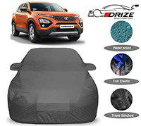 DRIZE Waterproof with Triple Stitched Fully Elastic Ultra Surface Body Protection Tata Harrier Car Cover (Grey Look)