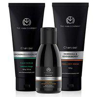 The Man Company Face Care kit (Charcoal Face scrub 100 gm+ Face wash 100 ml + Peel off mask 100 gm) | Made in India