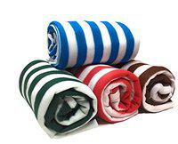 Supreme Home Collective Super Soft Single Bed Lightweight AC Fleece Blanket Colored Stripes -Multi (Pack of 4)