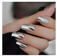 VIKSON INTERNATIONAL 24 Pcs Silver Chrome Mirror Finish French Tip Artificial Nail Extension Nails with 1 NAIL GLUE STICKER SHEET.