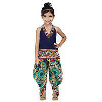 BownBee Girls Blue & Fluorescent Green Embroidered Top with Dhoti Pants