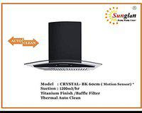 Sunglan Crystal T 60 cm 1200 m3/hr Auto Clean Chimney with Motion Sensor Free Installation Kit (Touch BF 60 BK, 2 Baffle Filters, Touch Control, Black (Titanium)