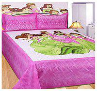 FrionKandy Cotton 120 TC Bedsheet (Pink_Double)