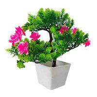 Banyan Green Pink Artificial Plants | Guldasta Flower Pots for Home Decoration | Plants for Home by Sehaz Artworks