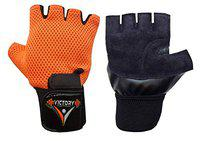 VICTORY ACE Leather Palm with Wrist Support Gym & Fitness Gloves (Colour May Vary) (Orange)