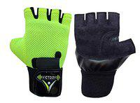 VICTORY ACE Leather Palm with Wrist Support Gym & Fitness Gloves (Colour May Vary) (Green)