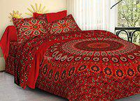 TIGER EXPORTS Cotton 220 TC Bedsheet (Red_Queen)