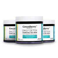 Greenberry Organics Daily Detox Charcoal Gel Face Mask with Tea Tree and Green Tea, 100g-Buy 2 Get 1 Free...