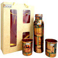 Prisha India Craft Pure Copper Water Bottle & 2 Copper Tumblers with Beautiful Gift Box, Digital Printed Design, Set of 3 Pieces