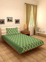 Dekor World 180 Tc Cotton Printed Ogee Single Bedsheet with Pillow Cover - Green, 2 Piece