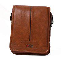 Blowzy Bags Men's PU Leather Messenger/Shoulder/Travel/Cross Body Sling Bags (Brown)
