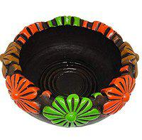 Best Buy Store | Handmade Earthenware Clay Terracotta Decorative Floating Candle/Flower Pot/Potpourri Round Bowl/Urli (Multicolour, Dia. :6 Inches, H:3 Inch)