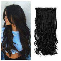 Inaaya Hair Extensions Clip in Straight Curly Wavy Thick Hairpiece For Women Pack Of 1 (curly black)