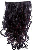 Inaaya Hair Extensions Clip in Straight Curly Wavy Thick Hairpiece For Women Pack Of 1 (burgundy highlighting)