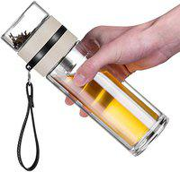 Not Available Double Wall Glass Water Bottle Tea and Water Separation Tea Bottle Cup with Tea Infuser