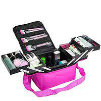 House of Quirk Makeup Train Case 4 Trays Makeup Bag Large Capacity Cosmetic Organizer Professional Cosmetic Bag Portable Artist Storage Bag with Shoulder Strap (Purple)
