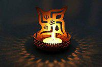 Heaven Decor Metal Swastik Shadow Tealight Candle Holder, Pack of 1
