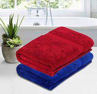 Roseate Ultra Soft 100% Cotton (550 GSM / 70x140 cm) Large Bath Towel Super Absorbent/ Anti Bacterial (Red & Blue) Pack of 2
