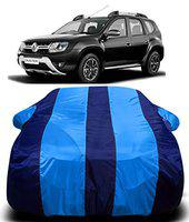 DRIZE Renault Duster Car Cover Waterproof with Triple Stitched Fully Elastic Ultra Surface Body Protection (Blue Stripes)