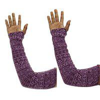 Anmol Cotton Driving Gloves Full Hand Arm Sleeves Gloves for Women - Size: Free-Size (Multi-Coloured) 1 Pcs. A-109