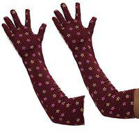 Anmol Cotton Driving Gloves Full Hand Arm Sleeves Gloves for Women - Size: Free-Size (Multi-Coloured) 1 Pcs. A-102