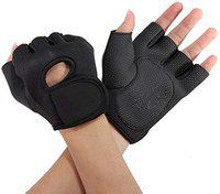 Fitness Guru - Gym Gloves Fingerless with Wrist Wrap Durable Gloves for Weight Lifting Training Fitness Gym Workout Crossfit Sports - Black