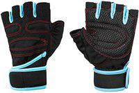 Fitness Guru - Weight Lifting Gloves with Built-in Wrist Wraps, Full Palm Protection & Extra Grip - Black and Blue