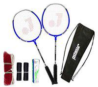 Jaspo CosmoEZ100 NANOTECH Badminton Combo Including 2Racquets + 5 Feather Shuttles + 2Holding Grips and Bag in Pack (Blue)