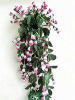 Dannyboyzs Artificial Hanging Flower, Rose Flower Vine for Indoor and Outdoor Decoration with Complimentary Hanging Stand, Purple, White Rose Artificial Flower (33 inch, Pack of 1)