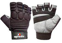 APRODO Sports Leather Fitness Gloves Gym Workout Gloves with Padded Knuckle Protector (Pack of 1 Pair) (Black and Grey, Large)
