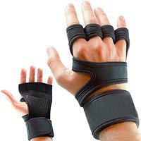 DreamPalace India Workout Gloves with Wrist Support for Gym Workouts, Pull Ups, Cross Training, Weightlifting, Calisthenics, WOD, Exercise - Silicone Padding - Great Hand Grip & No Calluses