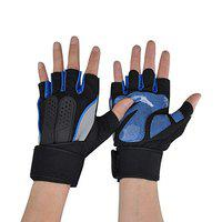 DreamPalace India War Fitness Gloves for Weight Lifting and Cross Training with Silicon Gel to Provide Grip, Comfort and Wrist Support - Best for Men and Women (Blue)