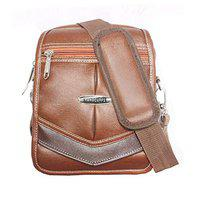Handcuffs Leatherette Cross Body Sling Bag for Men for Daily Use - Rust