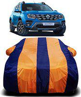 DRIZE New 2019 Renault Duster Car Cover Waterproof with Triple Stitched Fully Elastic Ultra Surface Body Protection (Orange Stripes)