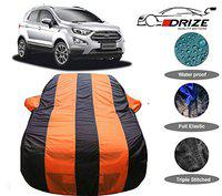 DRIZETM Exotic Quality Ecosport Car Cover Waterproof with Triple Stitched Fully Elastic Ultra Surface Body Protection (Orange Stripes)