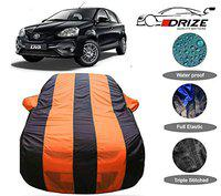 DRIZE Etios Liva Car Cover with Triple Stitched Fully Elastic Ultra Surface Body Protection (Orange Stripes)