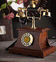 DEZIINE Vintage Retro Landline Home Telephone with Dial Set Corded Machine Classic Fashion 60s (Antique-05)