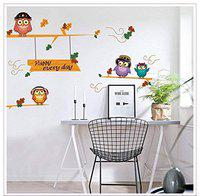 Goldencart Singing Owls Wall Sticker to Spread The Message of Love, Music and Fun to Your Little Angels Inside Sweet Home and Office (75 cm * 50 cm, Self-Adhesive and Safe PVC Vinyl) - Pack of 2