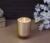 Hosley Rose Fragrance Mercury Gold Glass Candle for Home Decoration