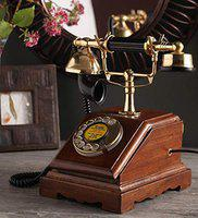 DEZIINE Antique Style Wooden Telephone, Vintage Type Retro Look landline as Home Phone handset (Telephone - 11).