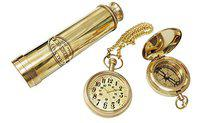 Artshai Antique Combo of Brass 12 inch Telescope, 2 inch Magnetic ompass and Pocket Watch with Chain .Excellent Gifting Item