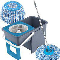 Primeway Pw980Mn Space Saver Square Bucket Rotating Spin Mop with 2 Refills, 6.5 LTR (Grey)