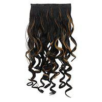 Rozia 22 1-Pack 3/4 Full Head Curly Wave Clips in on Synthetic Hair Extensions Hairpieces for Women 5 Clips 5.6 Oz per Piece - hair extensions for women Highlighted