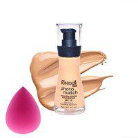 BONJOUR PARIS Photo Match Invisible Matte Liquid Foundation - Rose Ivory (30 ml) with Beauty Blender Sponge - Combo Offer
