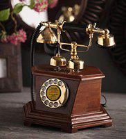 DEZIINE Antique Telephone, Vintage Retro landline House Home Phone handset, Corded Machine Classic Fashion 60s Classic dial Set (Antique-01)
