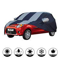AllExtreme A7005 Car Body Cover for Maruti Suzuki Alto Custom Fit Dust UV Heat Resistant for Indoor Outdoor SUV Protection (Blue-Silver with Mirror)