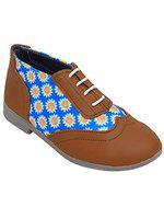 D'chica Chic Blue and Brown Brogues for Girls tan Formal Shoes-12.5 Kids UK (32.5 EU) (DCNV5685)