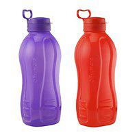 Oliveware Jumbo 2 Litre Water Bottle Red and Purple | for Home, Office & Gym | 2000 ML Jumbo Size | Sturdy with Holder | BPA Free Premium Bottle | Best Big 2L Bottle (Pack of 2)