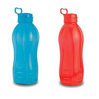Oliveware Jumbo 2 Litre Water Bottle Red and Blue | for Home, Office & Gym | 2000 ML Jumbo Size | Sturdy with Holder | BPA Free Premium Bottle | Best Big 2L Bottle (Pack of 2)