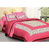 FAB ART Rajasthani Cotton Double Bedsheets with 2 Pillow Covers (Pink)